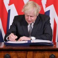Boris Johnson signs the UK - EU free trade deal, December 30, 2020 at 10 Downing St. London, UK
